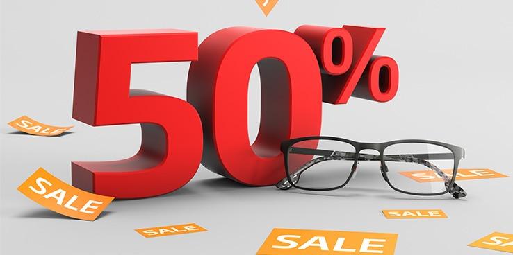 50% korting op alle brillen